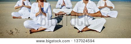 People Yoga Meditation Beach Nature Peaceful Concept