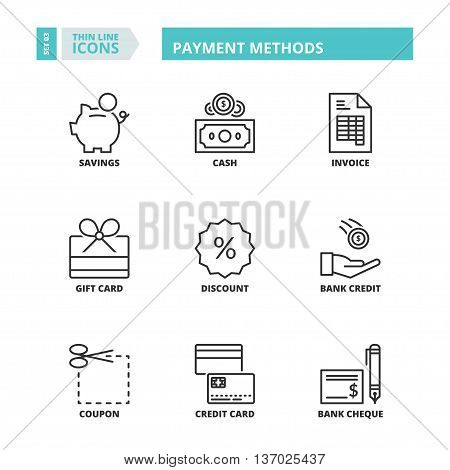 Flat symbols about payment methods. Thin line icons set.