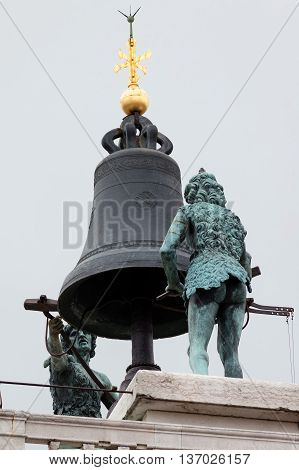 Statues Of Moors On Top Of The 15Th Century Torre Dell'orologio