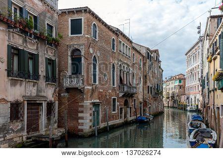 VENICE ITALY - MAY 2 2016: Rio de San Polo canal in the Venetian quarter of San Polo