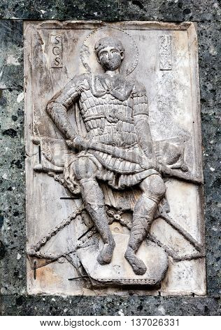 Medieval Carving Of A Warrior Saint
