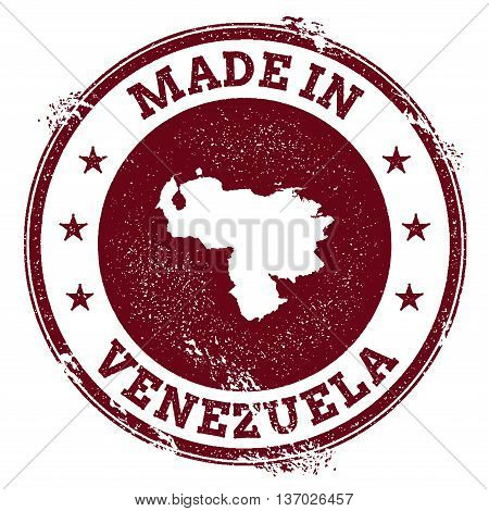 Venezuela, Bolivarian Republic Of Vector Seal. Vintage Country Map Stamp. Grunge Rubber Stamp With M