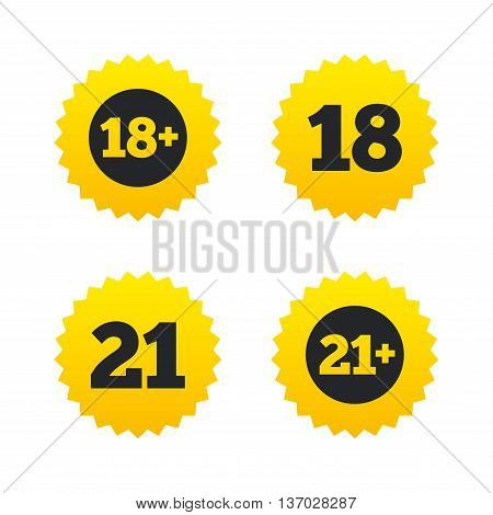Adult content icons. Eighteen and twenty-one plus years sign symbols. Yellow stars labels with flat icons. Vector