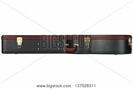 Leather guitar case with brown handle, side view. 3D graphic