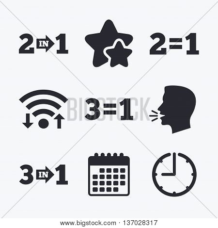 Special offer icons. Take two pay for one sign symbols. Profit at saving. Wifi internet, favorite stars, calendar and clock. Talking head. Vector