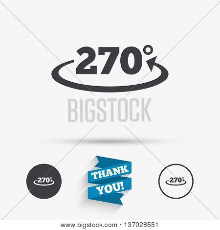 Angle 270 degrees sign icon. Geometry math symbol. Flat icons. Buttons with icons. Thank you ribbon. Vector