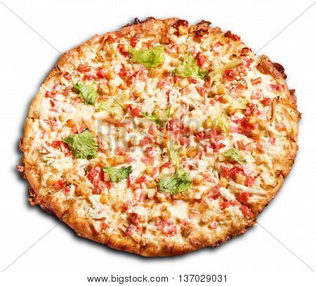 Isolated fresh pizza on white background. Delicious healthy snack with fresh vegetables and cheese. Hot meal with many ingridients. Unhealthy junk food. Street food. Italian cuisine.