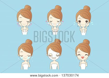 cartoon girl care her face with various actions facial beauty
