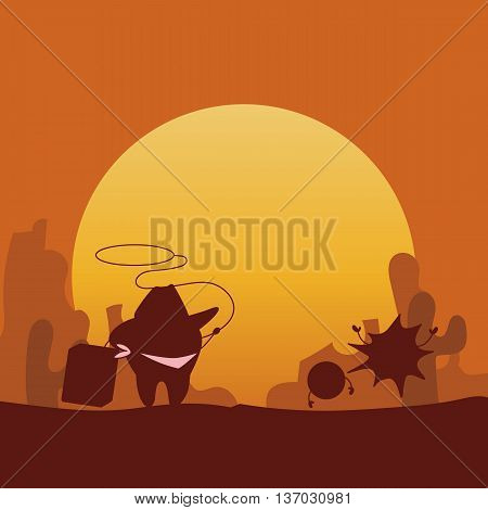 Silhouette of cartoon cowboy tooth with dental floss great for health dental care concept