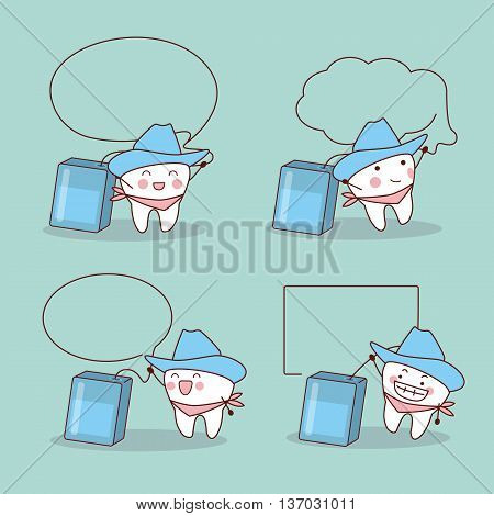 cartoon cowboy tooth with dental floss and speech bubble great for health dental care concept