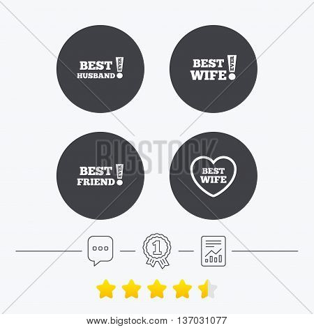Best wife, husband and friend icons. Heart love signs. Awards with exclamation symbol. Chat, award medal and report linear icons. Star vote ranking. Vector