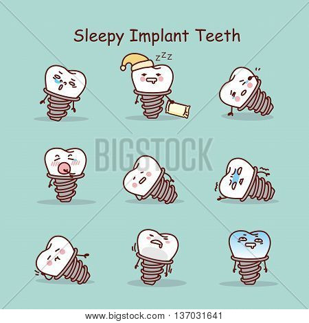 Sleepy cartoon tooth implant set great for your design