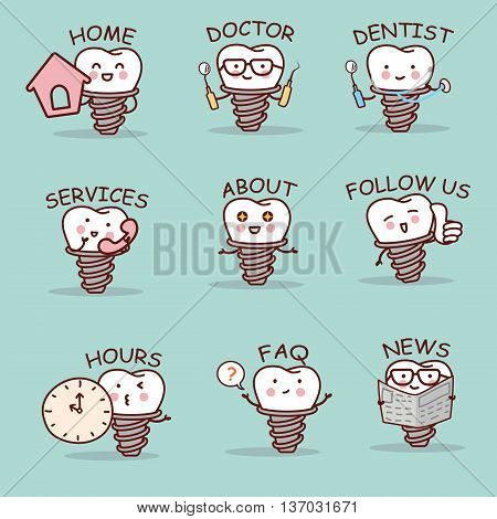 cute cartoon implant tooth set with web design text and word great for your website design