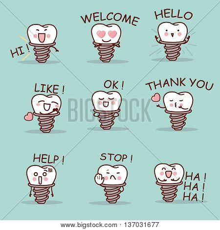cute cartoon implant tooth set with all kind of emoji great for your design