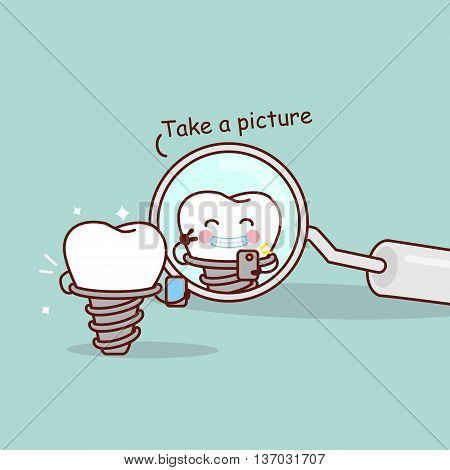 cute cartoon implant tooth take a picture in the dental mirror great for health dental care concept