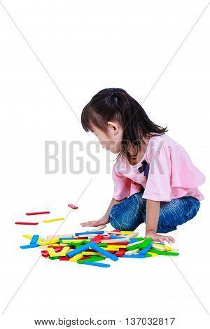 Child Playing Toy Wood Blocks, Isolated On White Background.