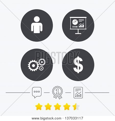 Business icons. Human silhouette and presentation board with charts signs. Dollar currency and gear symbols. Chat, award medal and report linear icons. Star vote ranking. Vector