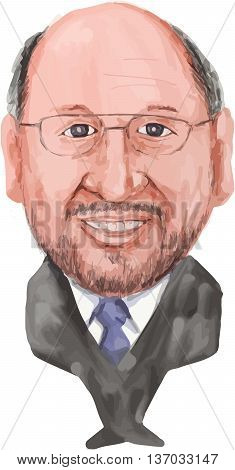 Water color caricature illustration of Martin Schulz German politician serving as the President of the European Parliament of viewed from front on isolated white background done in cartoon style.