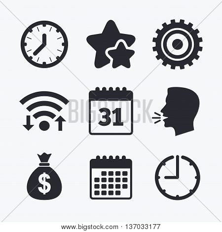 Business icons. Calendar and mechanical clock signs. Dollar money bag and gear symbols. Wifi internet, favorite stars, calendar and clock. Talking head. Vector