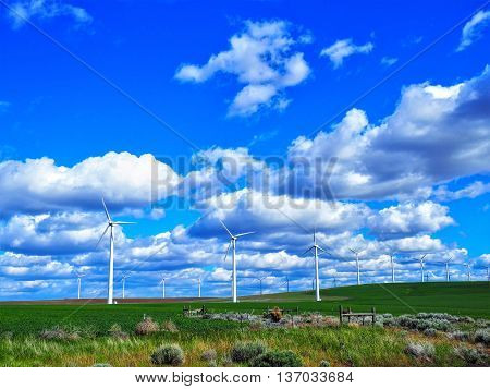 Wind Farm with Sunny Blue Sky and Clouds