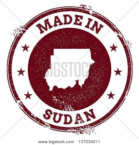 Sudan Vector Seal. Vintage Country Map Stamp. Grunge Rubber Stamp With Made In Sudan Text And Map, V
