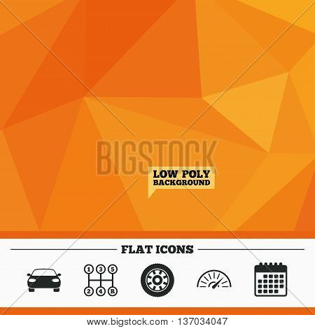 Triangular low poly orange background. Transport icons. Car tachometer and mechanic transmission symbols. Wheel sign. Calendar flat icon. Vector