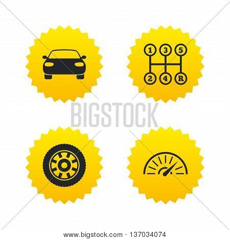 Transport icons. Car tachometer and mechanic transmission symbols. Wheel sign. Yellow stars labels with flat icons. Vector