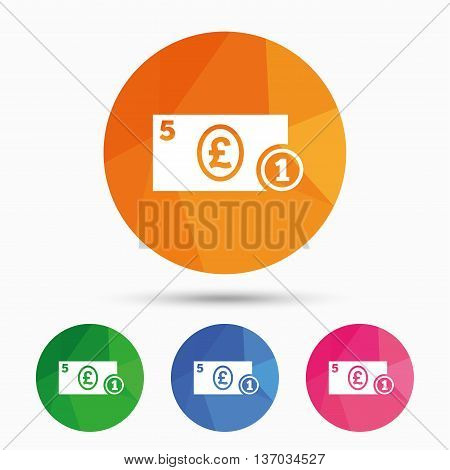 Cash sign icon. Pound Money symbol. GBP Coin and paper money. Triangular low poly button with flat icon. Vector