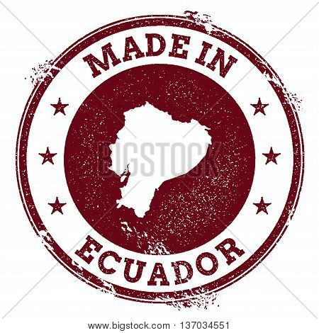 Ecuador Vector Seal. Vintage Country Map Stamp. Grunge Rubber Stamp With Made In Ecuador Text And Ma