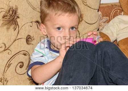 Portrait of fair-haired little boy playing with plasticine and bear home on the sofa