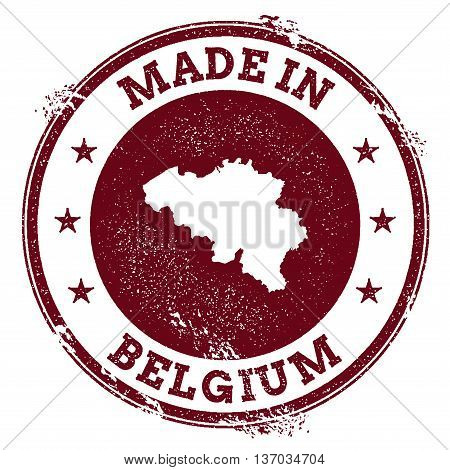 Belgium Vector Seal. Vintage Country Map Stamp. Grunge Rubber Stamp With Made In Belgium Text And Ma