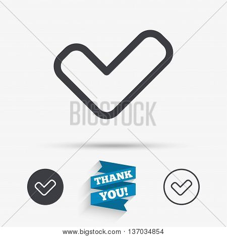 Check sign icon. Yes button. Flat icons. Buttons with icons. Thank you ribbon. Vector