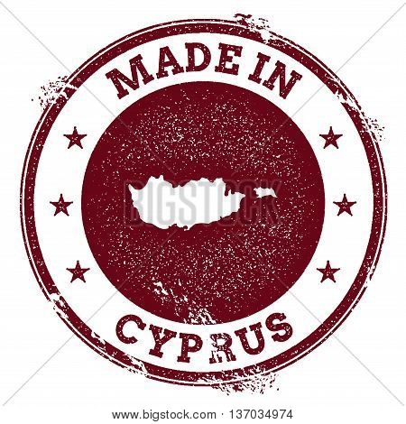 Cyprus Vector Seal. Vintage Country Map Stamp. Grunge Rubber Stamp With Made In Cyprus Text And Map,