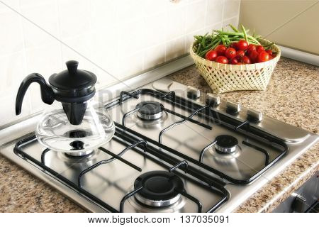 close up shot of stove in domestic kitchen
