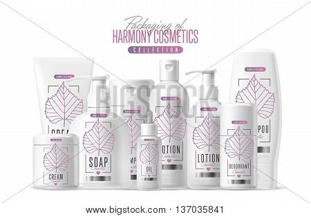 Harmony organic cosmetic brand vector packaging template, body care product. Oil, lotion or soap, shampoo, cream. Realistic bottle mock up set, isolated pack on white background.