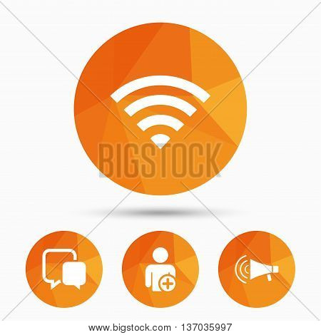 Wifi and chat bubbles icons. Add user and megaphone loudspeaker symbols. Communication signs. Triangular low poly buttons with shadow. Vector