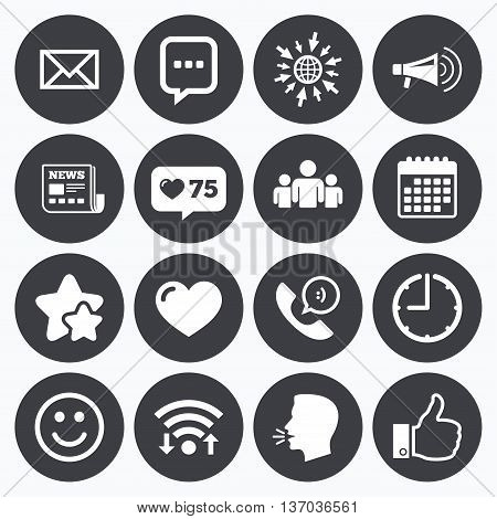Calendar, wifi and clock symbols. Like counter, stars symbols. Mail, news icons. Conference, like and group signs. E-mail, chat message and phone call symbols. Talking head, go to web symbols. Vector