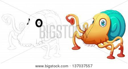 Beetle Octopus Face and Snail Creature. Coloring Book, Outline Sketch, Monster Mascot Character Design isolated on White Background