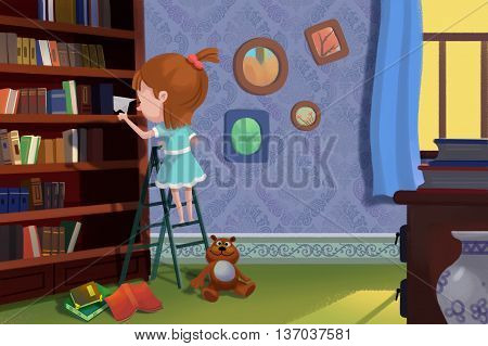 Look what I found on the Book Shelf. Child Story Digital CG Artwork, Concept Illustration, Realistic Cartoon Style Background