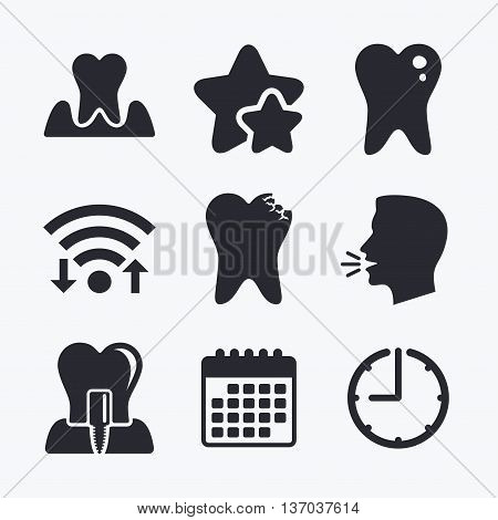 Dental care icons. Caries tooth sign. Tooth endosseous implant symbol. Parodontosis gingivitis sign. Wifi internet, favorite stars, calendar and clock. Talking head. Vector