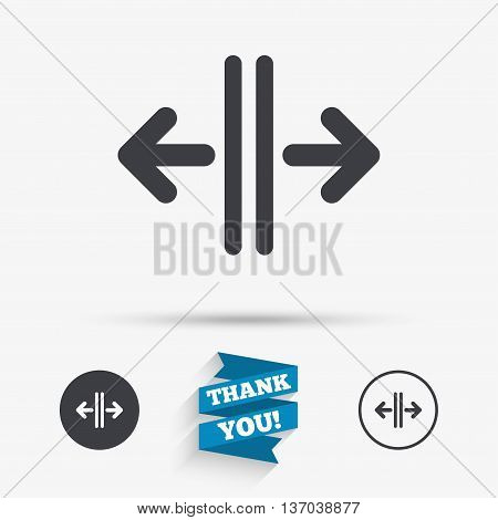 Open the door sign icon. Control in the elevator symbol. Flat icons. Buttons with icons. Thank you ribbon. Vector