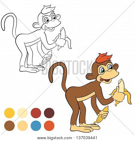 Coloring page. Color me: monkey. Little cute monkey stands and holds two bananas in the hands. Monkey smiles.