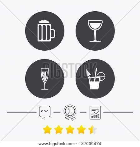 Alcoholic drinks icons. Champagne sparkling wine with bubbles and beer symbols. Wine glass and cocktail signs. Chat, award medal and report linear icons. Star vote ranking. Vector