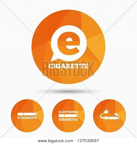 E-Cigarette with plug icons. Electronic smoking symbols. Speech bubble sign. Triangular low poly buttons with shadow. Vector