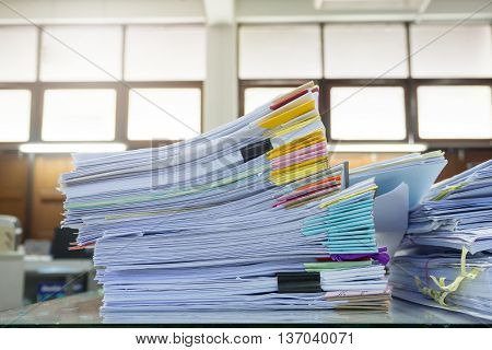 Messy Office Desk, Pile Of Unfinished Paperworks