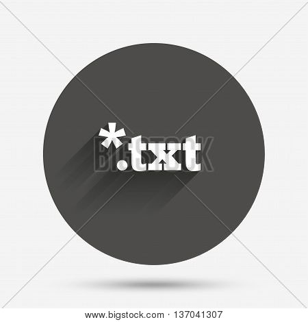 Text file icon. Download txt doc button. Txt file extension symbol. Circle flat button with shadow. Vector