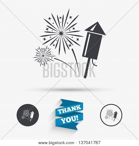 Fireworks with rocket sign icon. Explosive pyrotechnic symbol. Flat icons. Buttons with icons. Thank you ribbon. Vector