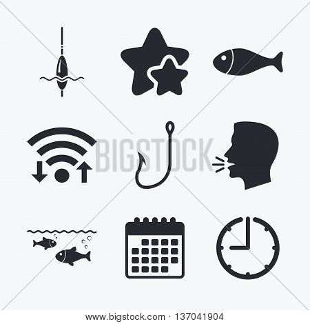 Fishing icons. Fish with fishermen hook sign. Float bobber symbol. Wifi internet, favorite stars, calendar and clock. Talking head. Vector