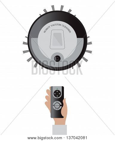 Remote control of robotic vacuum cleaner isolated on white background technology vector illustration.