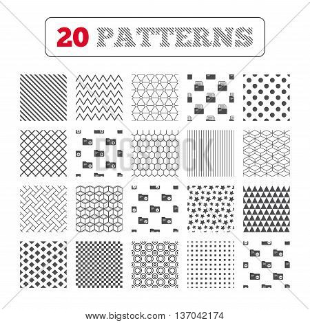 Ornament patterns, diagonal stripes and stars. Accounting binders icons. Add or remove document folder symbol. Bookkeeping management with checkbox. Geometric textures. Vector
